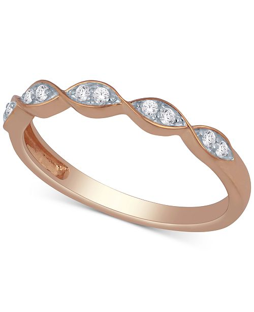 Macy's Diamond Scalloped Stackable Band (1/10 ct. t.w.)