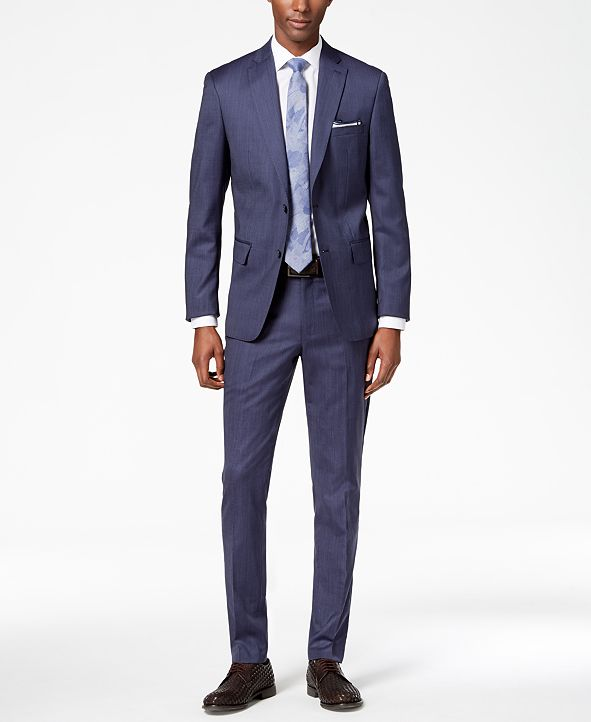 DKNY Men's Modern-Fit Stretch Textured Suit Separates