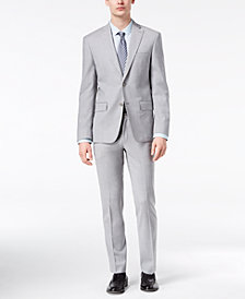 DKNY Men's Modern-Fit Stretch Gray Sharkskin Suit Separates
