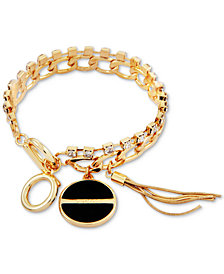 GUESS Gold-Tone Crystal, Jet Stone & Tassel Charm Bracelet