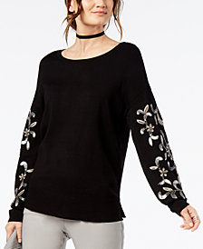 I.N.C. Petite Embellished-Sleeve Sweater, Created for Macy's