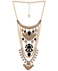 "GUESS Gold-Tone Jet Stone Statement Necklace, 16"" + 2"" extender"