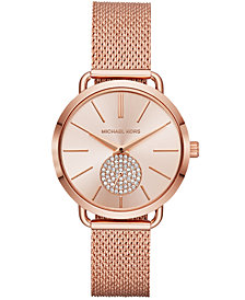 Michael Kors Women's Portia Rose Gold-Tone Stainless Steel Mesh Bracelet Watch 37mm