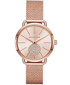 Michael Kors Women's Portia Rose Gold-Tone Stainless Steel Mesh Bracelet Watch 37mm