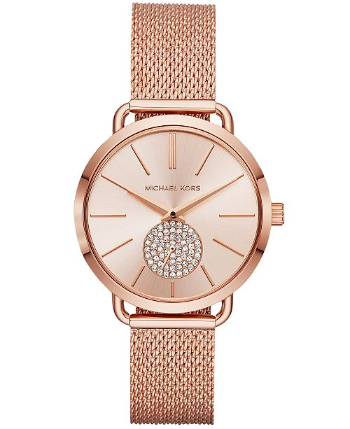 1c02ed2c68c07 Michael Kors Women s Portia Rose Gold-Tone Stainless Steel Mesh Bracelet  Watch ...