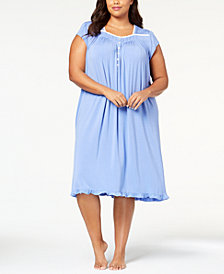 Eileen West Plus Size Waltz Lace-Trim Ruffle-Hem Knit Nightgown