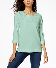 Charter Club Floral-Appliqué Top, Created for Macy's