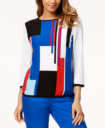Alfred Dunner Petite Upper East Side Colorblocked Sweater
