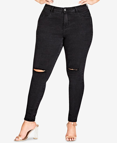 City Chic Trendy Plus Size Ripped Jeans