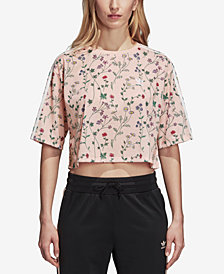 adidas Originals Floral-Print Cropped T-Shirt