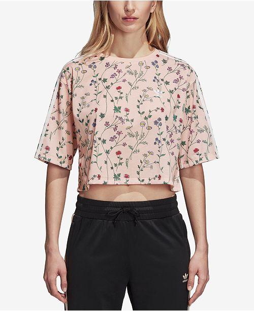 c8ca86e3 adidas Floral-Print Cropped T-Shirt & Reviews - Tops - Women - Macy's