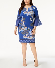 JM Collection Plus Size Embellished Bell-Sleeve Dress, Created for Macy's