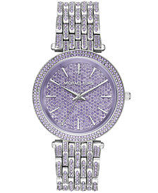 Michael Kors Women's Darci Lavender Pavé & Stainless Steel Bracelet Watch 39mm