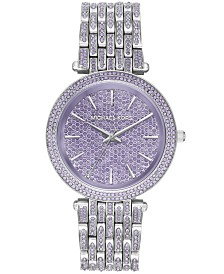 Michael Kors Women's Darci Lavender Pavé & Stainless Steel Bracelet Watch 39mm