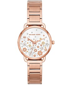 Michael Kors Women's Mini Portia Rose Gold-Tone Stainless Steel Bracelet Watch 32mm