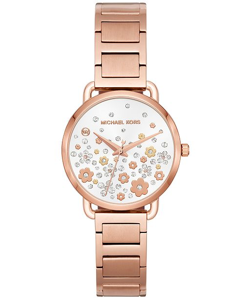 038583d5b87 Michael Kors Women s Mini Portia Rose Gold-Tone Stainless Steel Bracelet  Watch ...