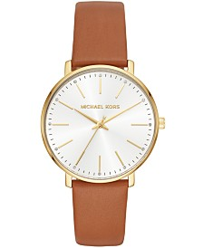 Michael Kors Women's Pyper Luggage Leather Strap Watch 38mm