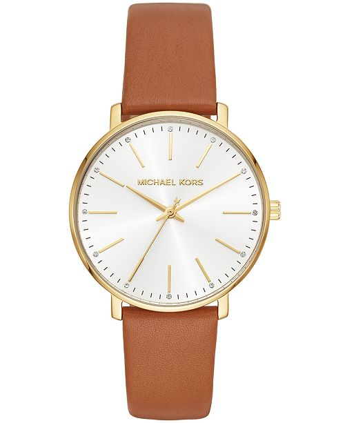 34a92a1868ed ... Michael Kors Women s Pyper Luggage Leather Strap Watch 38mm ...