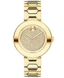 Movado Women's Swiss BOLD Museum Classic Pale Gold-Tone Stainless Steel Bracelet Watch 32mm