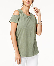 Style & Co Petite Cotton Cold-Shoulder Top, Created for Macy's