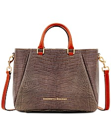 Dooney & Bourke Lizard-Embossed Leather Top-Zip Medium Satchel