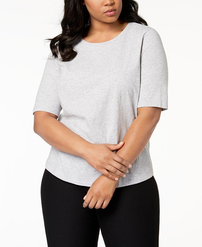Eileen Fisher - Plus Size Organic Cotton Elbow-Sleeve T-Shirt