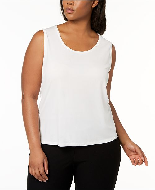 d3231387483 Eileen Fisher Plus Size SYSTEM Silk Jersey Tank Top   Reviews - Tops ...