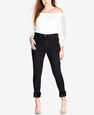 City Chic Trendy Plus Size Fringe-Cuff Skinny Jeans