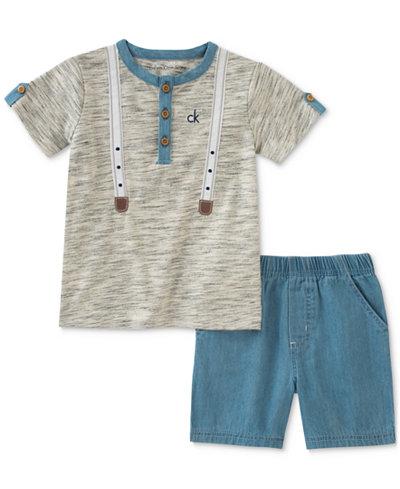 Calvin Klein 2-Pc. Henley T-Shirt & Shorts Set, Baby Boys