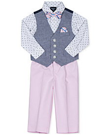 Nautica 4-Pc. Printed Shirt, Vest, Pants & Bowtie Set, Baby Boys