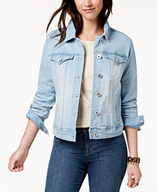 Style & Co Petite Mosaic Wash Denim Jacket, Created for Macy's