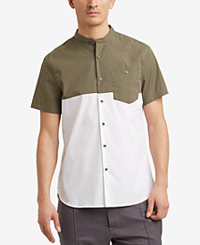 Kenneth Cole Reaction Men's Colorblocked Band-Collar Pocket Shirt
