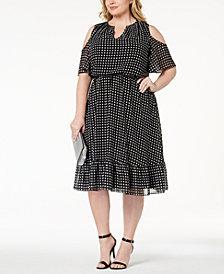MICHAEL Michael Kors Plus Size Cold-Shoulder Blouson Dress