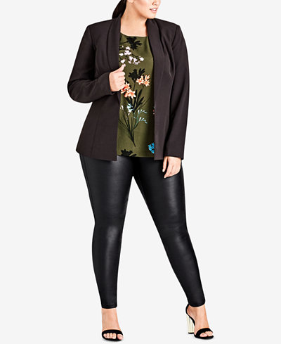 City Chic Trendy Plus Size Lace-Up Blazer