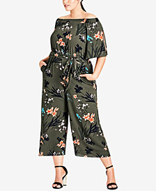 City Chic Trendy Plus Size Off-The-Shoulder Jumpsuit