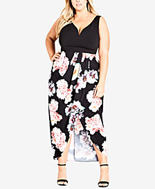 City Chic Trendy Plus Size Printed Sweetheart Dress