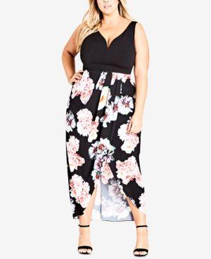 Trendy Plus Size Printed Sweetheart Dress, Black