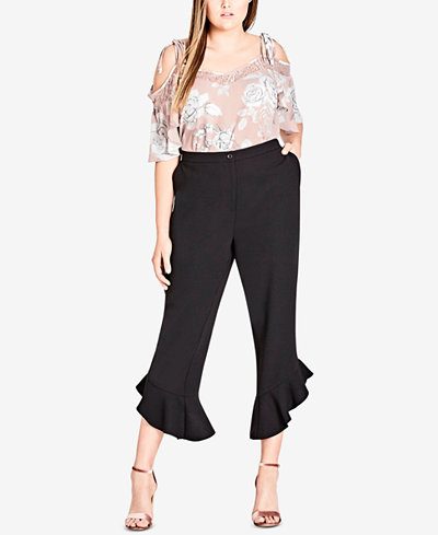 City Chic Trendy Plus Size Ruffled Cropped Pants