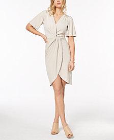kensie Faux-Suede Twist-Detail Dress