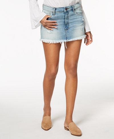 STS Blue Ripped & Frayed High-Low Denim Mini Skirt