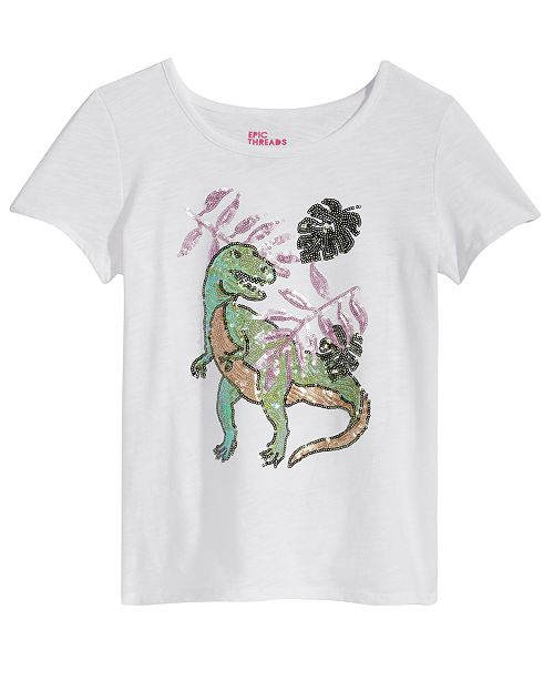 Epic Threads Sequin Dino T-Shirt, Big Girls, Created for Macy's