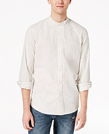 American Rag Men's Chambers Striped Banded Collar Shirt, Created for Macy's