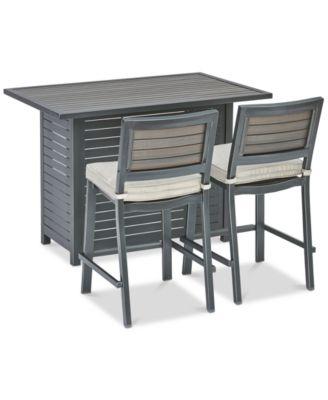 "Marlough II Outdoor Aluminum 3-Pc. Bar Set (52"" x 32"" Bar Table & 2 Bar Stools) with Sunbrella® Cushions, Created for Macy's"