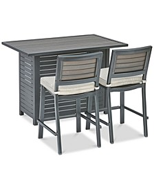 "Marlough II Outdoor Aluminum 3-Pc. Bar Set (52"" x 32"" Bar Table & 2 Bar Stools) with Sunbrella® Cushions, Created for Macy's"