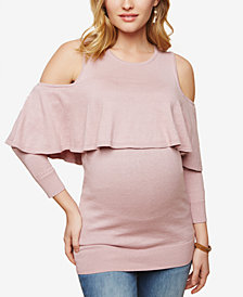 Motherhood Maternity Tiered Cold-Shoulder Top