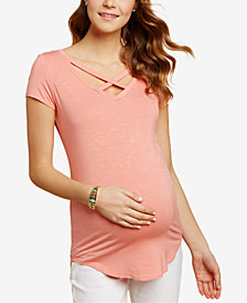 Jessica Simpson Maternity Cross-Back V-Neck Top