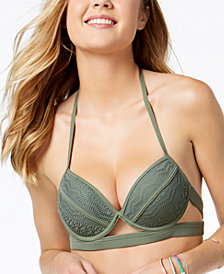Hula Honey Juniors' Little Wild One Underwire Push-Up Halter Bikini Top, Created for Macy's