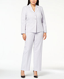 Le Suit Plus Size Three-Button Pantsuit