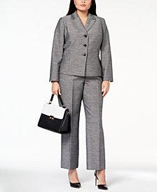 Le Suit Plus Size Melangé Three-Button Pantsuit