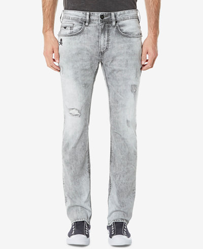 Buffalo David Bitton Men's Ash-X Slim Fit Stretch Embroidered Destroyed Jeans